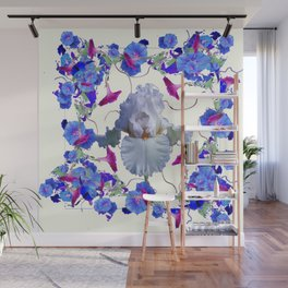 WHITE ART  BLUE MORNING GLORIES & WHITE IRIS Wall Mural