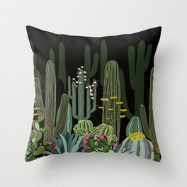 Cactus Garden at Night Throw Pillow