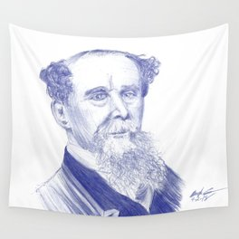 Charles Dickens Portrait In Blue Bic Ink Wall Tapestry