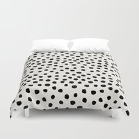 preppy Duvet Covers featuring Preppy brushstroke free polka dots black and white spots dots dalmation animal spots design minimal by CharlotteWinter