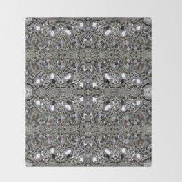 girly chic glitter sparkle rhinestone silver crystal Throw Blanket