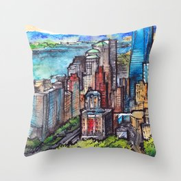 New York ink & watercolor illustration Throw Pillow
