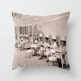 Vintage Hair Salon Throw Pillow