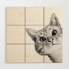 sneaky cat Wood Wall Art