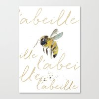 craftberrybush Canvas Prints featuring l'abeille  by craftberrybush