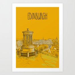 Edinburgh Skyline (yellow version) Art Print