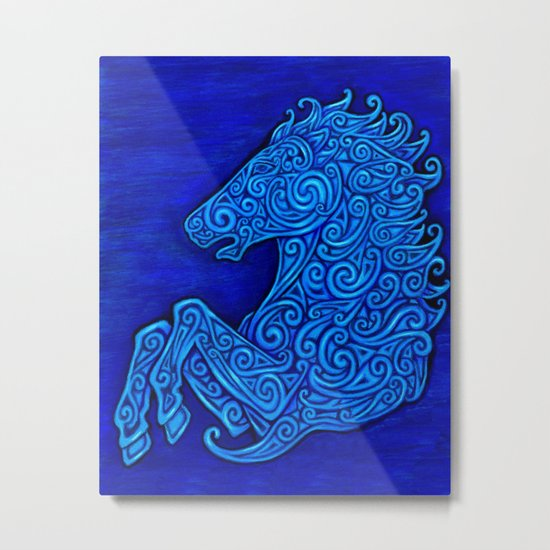 Blue Celtic Horse Abstract Spirals Metal Print