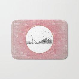 Beijing, China City Skyline Illustration Drawing Bath Mat