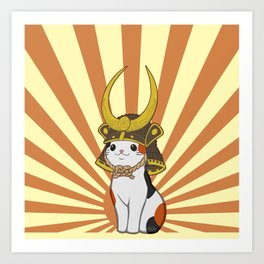 Japanese Bobtail Cat Wears Samurai Hat Art Print
