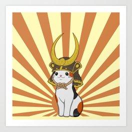 Japanese Bobtail Cat Wears Samurai Hat Art Print
