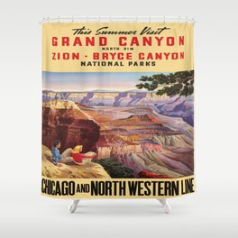 Vintage poster - Grand Canyon Shower Curtain