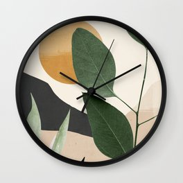 Abstract Art Tropical Leaves 8 Wall Clock