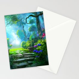 Fascinating Gorgeous Idyllic Dreamy Magic Garden UHD Stationery Cards