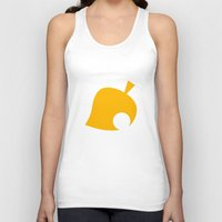animal crossing Tank Tops featuring Animal Crossing Autumn Leaf by Rebekhaart