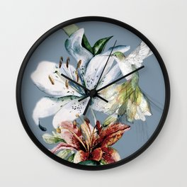 Hummingbird with Flowers Wall Clock