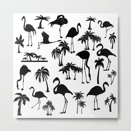 Flamingos and Palm Trees in Black and White Metal Print