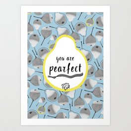 Monochrome pears on blue backdrop with yellow dots Art Print