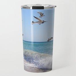 the ocean and birds Travel Mug