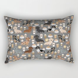Dachshund coffee lover must have pet gifts dachsie doxie dog weener dog Rectangular Pillow