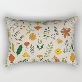 Colorful Plants and Herbs Pattern Rectangular Pillow