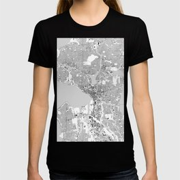 Seattle, Washington City Map, Black/White T-shirt