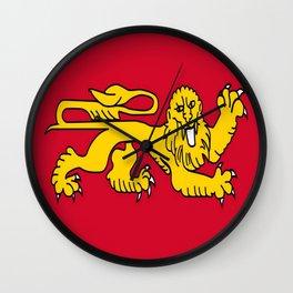 drapeau de l'aquitaine-France,Europe,Sud-ouest,aquitain, guyenne,Bordeaux,rouge,lion,Gasconne Wall Clock