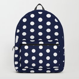 Navy Blue Polka Dots Minimal Backpack