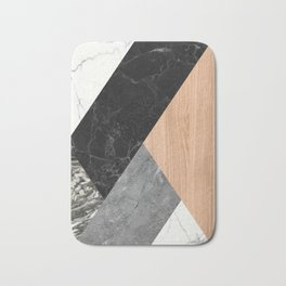 Marble and Wood Abstract Bath Mat