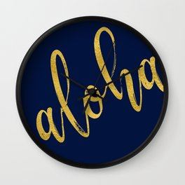 Aloha gold brush script on midnight navy blue glam summer design Wall Clock