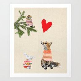 Fox and owl in love Art Print