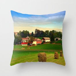 Hay bales and country village   landscape photography Throw Pillow
