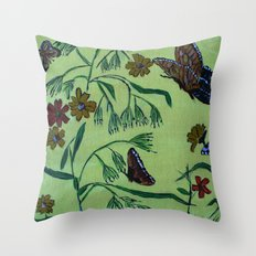 wildflowers and butterflies Throw Pillow