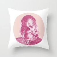 chewbacca Throw Pillows featuring Chewbacca by NJ-Illustrations