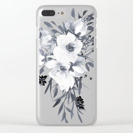 GRAY & WHITE FLORAL Clear iPhone Case