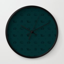 Roly Poly Party! Black Lineart on Blue Wall Clock