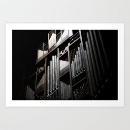 Gray and Brown Steel Organ Musical Instrument Abstract Print Art Print