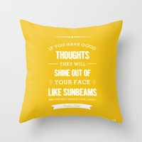 roald dahl Throw Pillows featuring Roald Dahl quote - Yellow by Dickens ink.