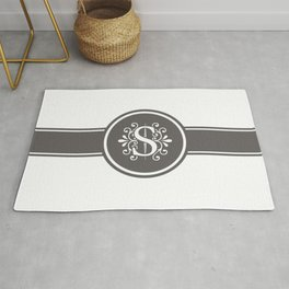 Monogram Letter S in Gray and White Rug