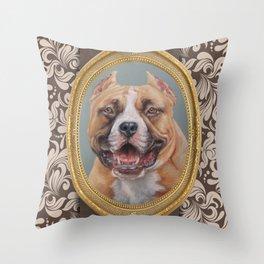 Old Gentleman. Amstaff Dog portrait in gold frame Throw Pillow