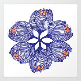 Blue spiral flower Art Print