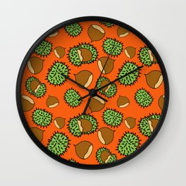 Chestnut and Chestnut Cupule Pattern Wall Clock