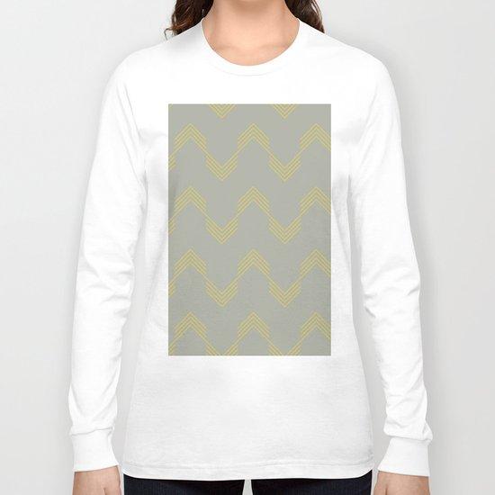 Simply Deconstructed Chevron Mod Yellow on Retro Gray Long Sleeve T-shirt