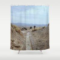 western Shower Curtains featuring western railway by Katie Corley