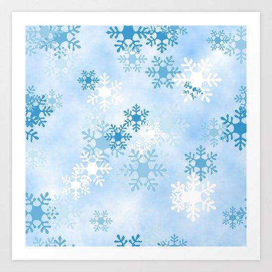 Blue White Winter Snowflakes Design by digitalbcon