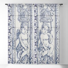 Tiles Angel Carrying Flowers Blackout Curtain