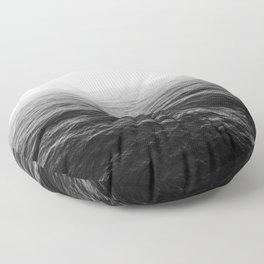 ocean horizon black and white landscape photography Floor Pillow