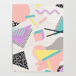 80s / 90s RETRO ABSTRACT PASTEL SHAPE PATTERN Poster