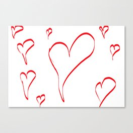 Several red hearts, love, sentimentality, romanticism Canvas Print