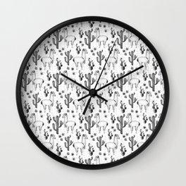 Llama Llamarama + Cactus Pattern Wall Clock