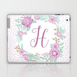 Monogram H - cute girls purple florals flower wreath, lilac florals, baby girl, baby blanket Laptop & iPad Skin